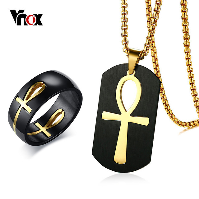 US $7 99 40% OFF|Vnox Men's Two Tone Cut out Ankh Egyptian Cross Ring and  Necklace Jewelry Sets for Men Stainless Steel Detachable Allah Prayer-in