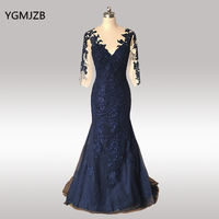 Elegant Navy Blue Mother Of The Bride Dress Lace 2018 Mermaid Three Quarter Sleeves Long Formal Party Evening Gowns for Wedding