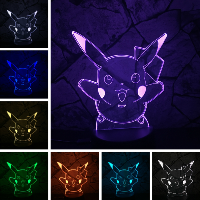 free shipping 3D Pokemons Go Game for home decoration animal Christmas Pikachu LED Night Lamp with 7 Colors Touch Gift Lighting