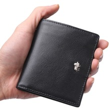 Fashion Purse Men's Genuine Leather Wallet RFID Blocking Mini Wallet Male Card Holder Small Zipper Coin Purse