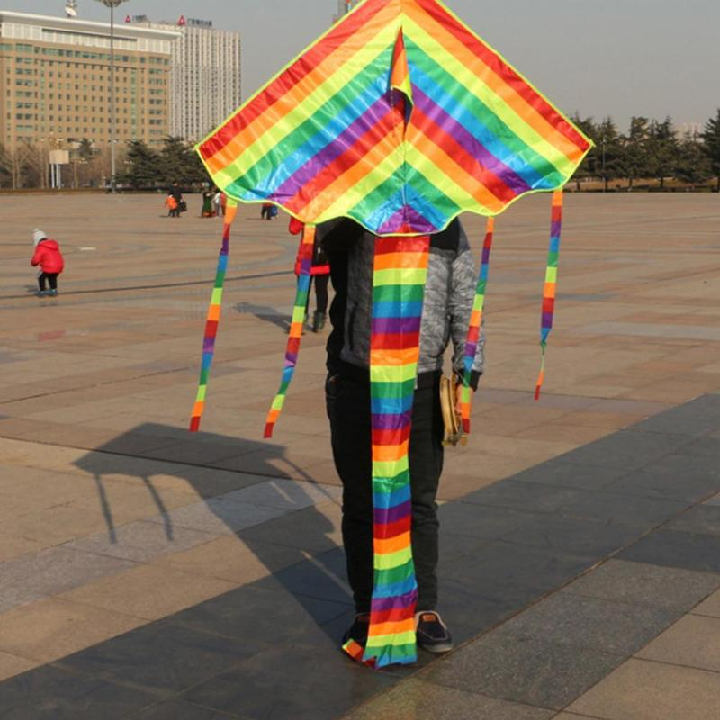 Colorful Kite With Handle New Children's Rainbow Kite Big Small Colorful Strip Long Tail Cloth Kite Outdoor Toys image