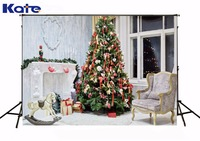 Kate Christmas Backdrop Photography Christmas Tree White Pony Background White Floor for Children Photo Studio Background