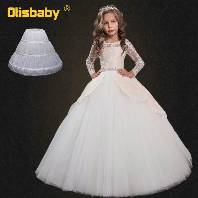 Crianças verão 2019 rendas flor casamento noite vestidos de festa longos para meninas cerimônia princesa vestido aniversário infantil