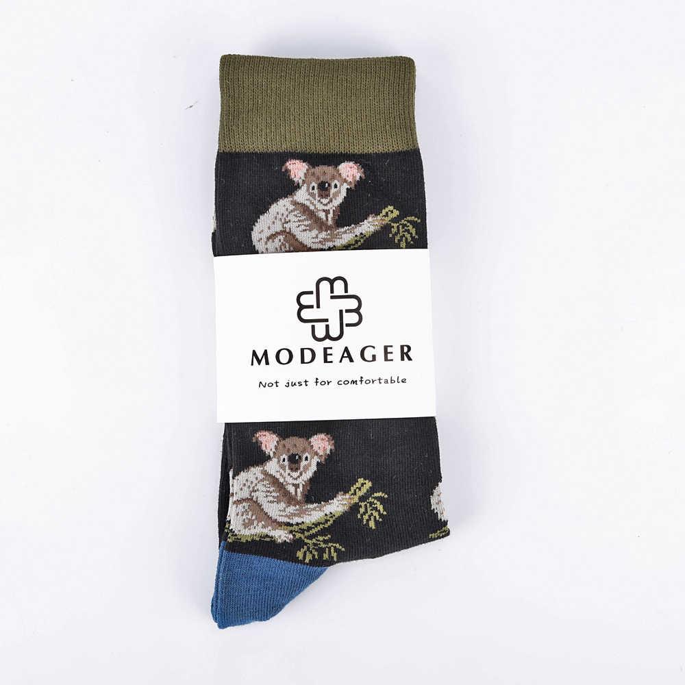 f6f6acf757b ... Modeager Fashion Big Size Cat Wolf Koala Dinosaur Animals Men s Funny  Socks Hip hop Cool Knee