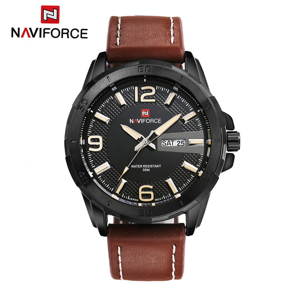 Top Men Watch Luxury Brand Naviforce Leather Strap Analog Men's Quartz Clock Casual Sports Watches Military Wristwatch Relogio weide new men quartz casual watch army military sports watch waterproof back light men watches alarm clock multiple time zone