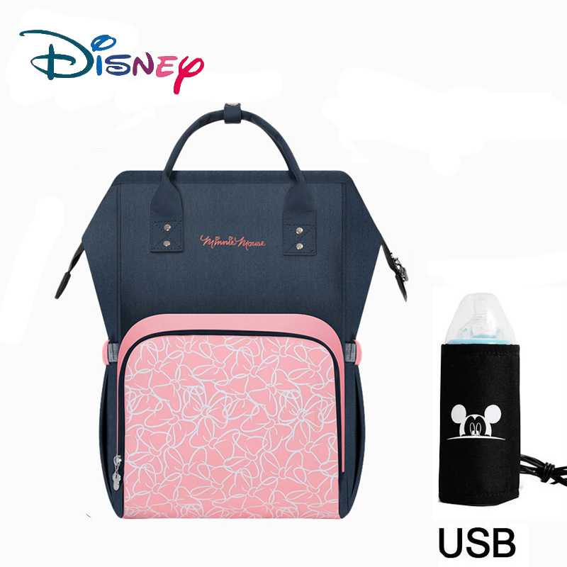 Disney USB Heating Diaper Bag Maternity Nappy Backpack Large Capacity Nursing Travel Backpack Heat Preservation Backpack For Mom