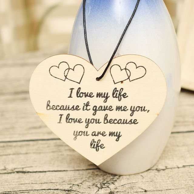 I Love My Life Hanging Wooden Heart Valentines Day Gift Husband Wife