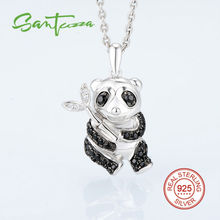 Panda Colgante En Forma de Collar de plata Para Las Mujeres de Piedra Natural Negro Espinela CZ Colgante de Diamantes Plata de Ley 925 Joyas