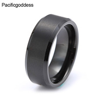 8mm Black Tungsten Carbide Wedding Ring Brushed Center Beveled Edges Comfort Fit Mens Classic Jewelry