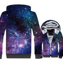 Space Galaxy 3D Print Hoodie Men Colorful Nebula Stars Sweatshirt Harajuku Coat Winter Thick Fleece Jacket Hipster Streetwear