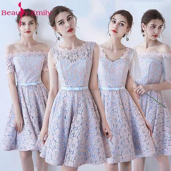 Beauty-Emily Lace Short Bridesmaid Dresses 2019 Vestidos Para Festa Sleeveless Knee-Length Lace up Wedding Party Girl Prom Dress