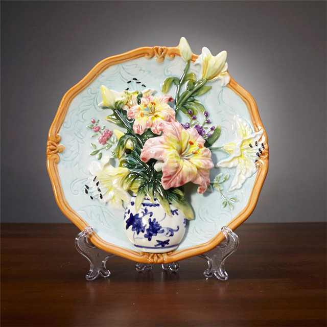creative handmade painted emboss lily flower vase decorative hanging plate ceramic wall plate modern home decoration & creative handmade painted emboss lily flower vase decorative hanging ...