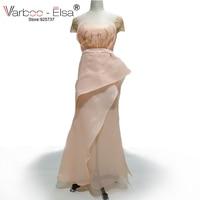 VARBOO_ELSA Robe De Soiree Longue Mantel Langes Abendkleid Geraffte Kristall Perlen High Split Formal Dress Arabische Abendkleider
