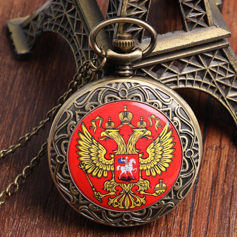 Fob Watches Men Russia's Double-headed Eagle Retro Quartz Pocket Watch Chain Necklace Pendant Watches Best Gift Clock