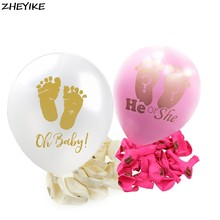 ZHEYIKE 1pc White Pink Ballons Baby Shower Feet Balloons Happy Birthday Party Balloons Kids Toys Footprint Latex Balloon Decor(China)