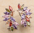 Classic Product Rainbow Garnet Amethyst Morganite Stones Onyx 925 Sterling silver Dangles Earrings For Woman's Jewelry S0004