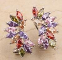 Hot Brilliant Rainbow Garnet Amethyst Sapphire Morganite Emerald Onyx Gold Filled Studs Earrings For Woman S0003