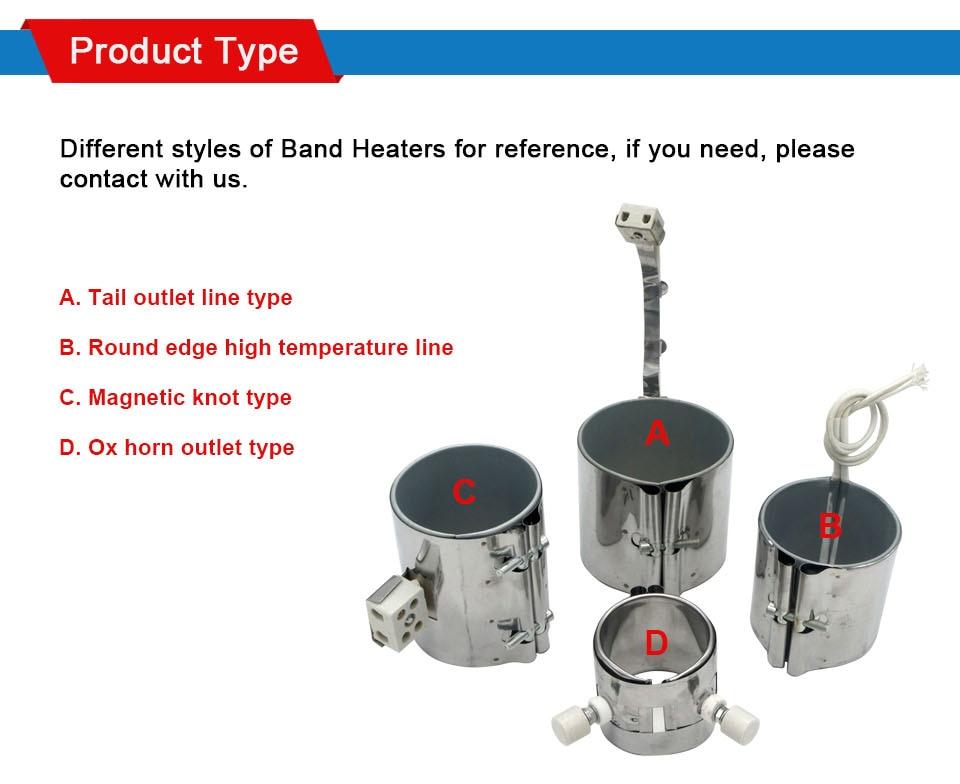 LJXH керамический ленточный нагреватель Mica 120x60 мм/120x70 мм/120x80mm/120x90 мм AC220V элемент Нержавеющаясталь 630 W/740 W/850 W/950 W