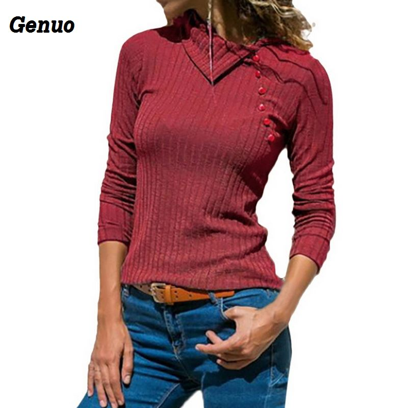 Women 39 s Solid Color Sweater Genuo Autumn Winter Long Sleeve Lapel Slim Button Top Korean Sweater Knitted Pullovers Women Tops in Pullovers from Women 39 s Clothing
