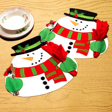 2pcs Snowman with Hat Christmas Xmas Tableware Cushion Dinner Lunch Party home Decorations Table Pad Mat Platemat without napkin
