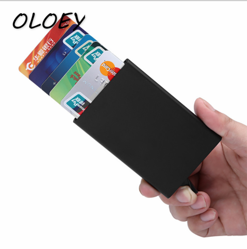Automatic Card Holder Case Bags Men Pop Up Business Card Pack Aluminum Alloy Portable Male Metal Passport ID Card Wallet! stylish alligator pattern portable pu leather aluminum alloy magnet business card case brown