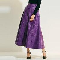 Kinikiss Mulheres Elegantes Saias Longas A Linha Ampla de Cintura Alta Saias de Couro de Damasco Roxo Dama Da Moda Saias Maxi Couro