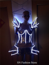 NZ002 LED light luminous costumes pants vest bra ballroom dance party dj clothes women costumized products