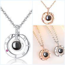 2019 New Rose Gold&Silver 100 Languages I love you Projection Pendant Necklace Romantic Love Memory Valentine' Day Gift For Girl(China)