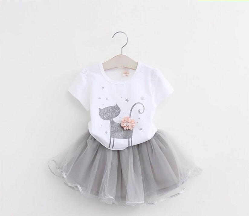 New Girls Summer Clothes Set White Cat Shirt and Grey Tutu Skirt for Kids Girl Lovely Set 2-6years Old for Kids Baby Basic Sets