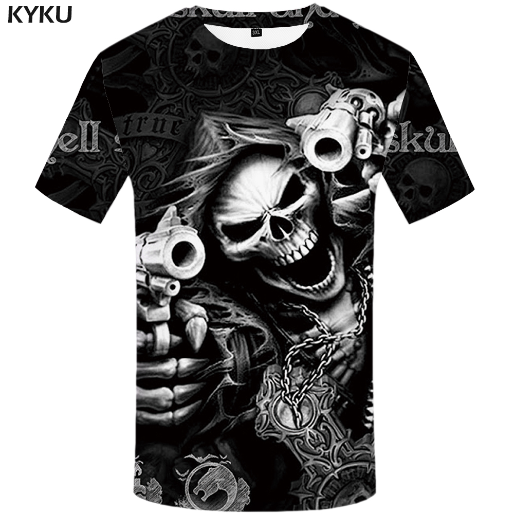KYKU Skull   T     shirt   Men Skeleton   T  -  shirt   Punk Rock Tshirt Gun   T     shirts   3d Print   T  -  shirt   Vintage Gothic Mens Clothing Summer tops