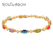 Noble Gold Tone Bracelets AAA Zircon Beautiful Color Crystal Health Nickel Lead free Fashion jewelry TB243