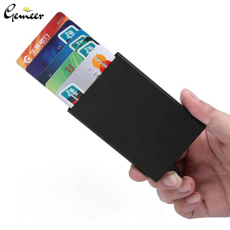 Gemeer Card Holder Metallic And Leather Wallet Stainless Card Holder With 1 Kit 6 Credit Card Protectors And