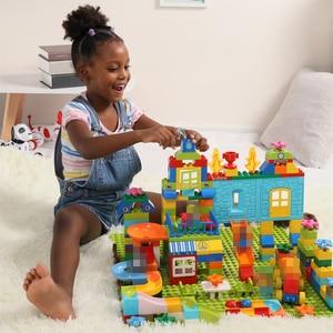 Image 3 - Big Size Building Blocks Compatible Duploedd 160 211pcs Amusement Park Marble Run Building Building Blocks Toys For Children