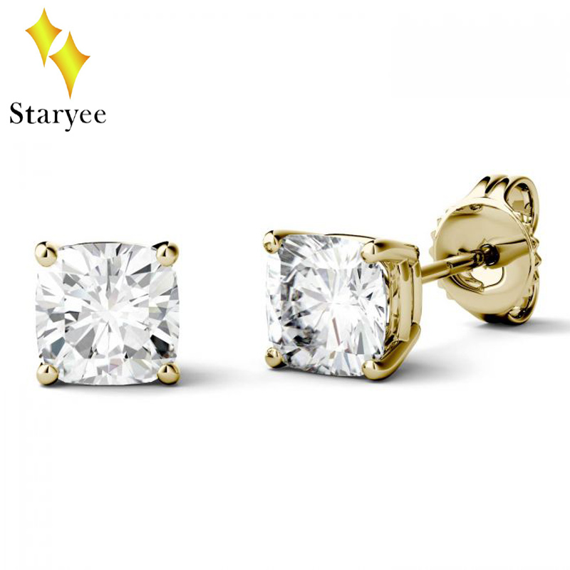 все цены на Charles Colvard 0.5CT VVS D Color Cushion Cut Moissanite Diamond Stud Earrings For Women Trendy 18k Solid Yellow Gold Jewelry