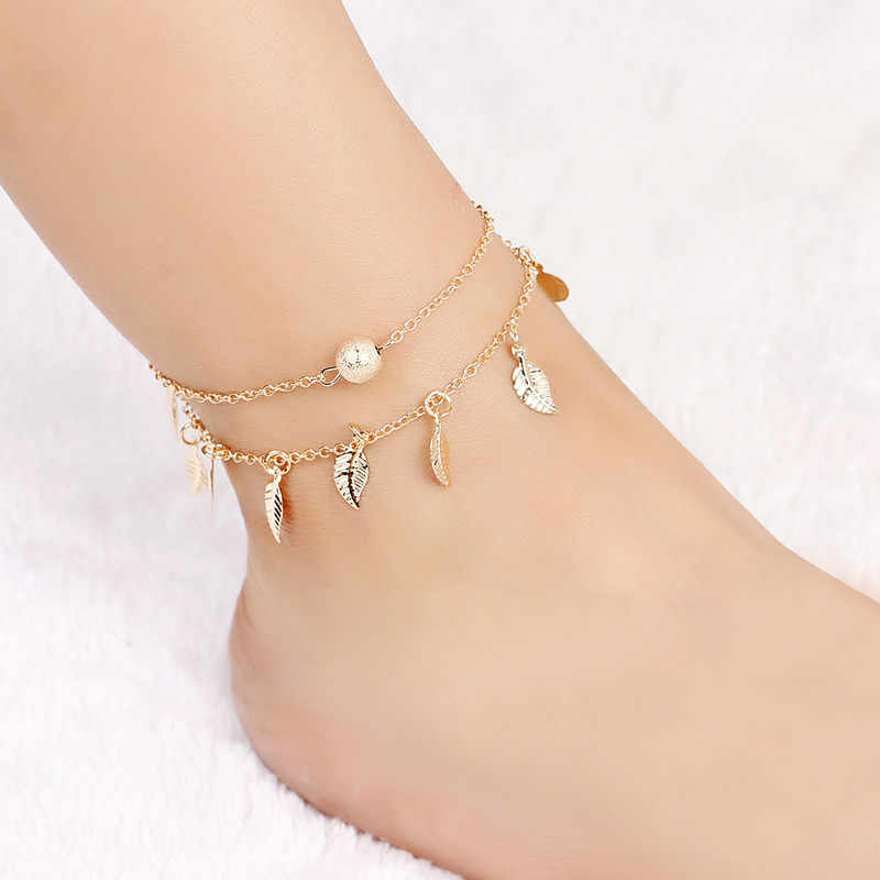 Yeni Vintage Bilezik ayak takısı Altın Gümüş Halhal Kadınlar Için Ayak Bileği Bacak Zincir Charm Yaprak Bilezik Moda Plaj Takı
