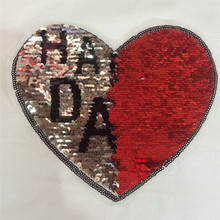 HAPPY DAYS red sliver patch flip the double-sided color sequins deal with it patches for clothing free shipping