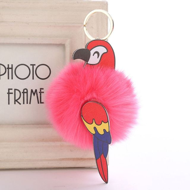 1 Pcs Chic Papagaio Chaveiro Faux Pele De Coelho Bola Pompom Fofo Animais Aves Keychain Saco Chaveiro Carro Bolsa Pom pom pingente Chaveiro