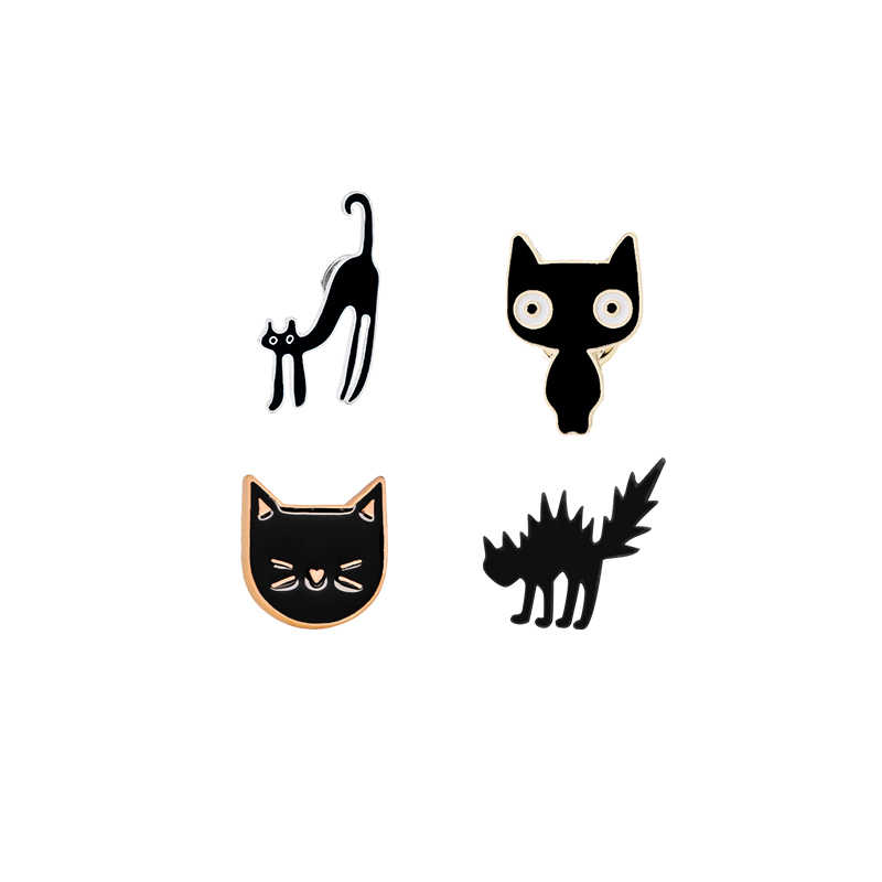 Hot Magic Zwart Broche Gespen Hekserij Kat Revers Pin Hard Metal Badges Hoed Jeans Jassen Accessoires Halloween Cadeaus Voor Kids