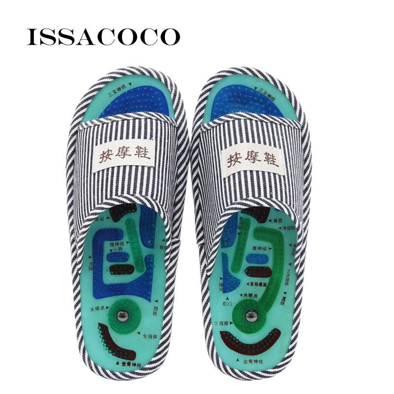 ISSACOCO Men's Blue Stripe Essential Health Care Taichi Acupuncture Foot Massage Slippers with Magnet Men's Massage Slippers Hot
