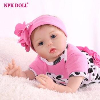 0e88b5189c 55 cm Reborn Baby Doll suave silicona paño Rosa vaca cuerpo realista niña  recién nacida muñecas niños Playmate Regalo de Cumpleaños moda lol 22