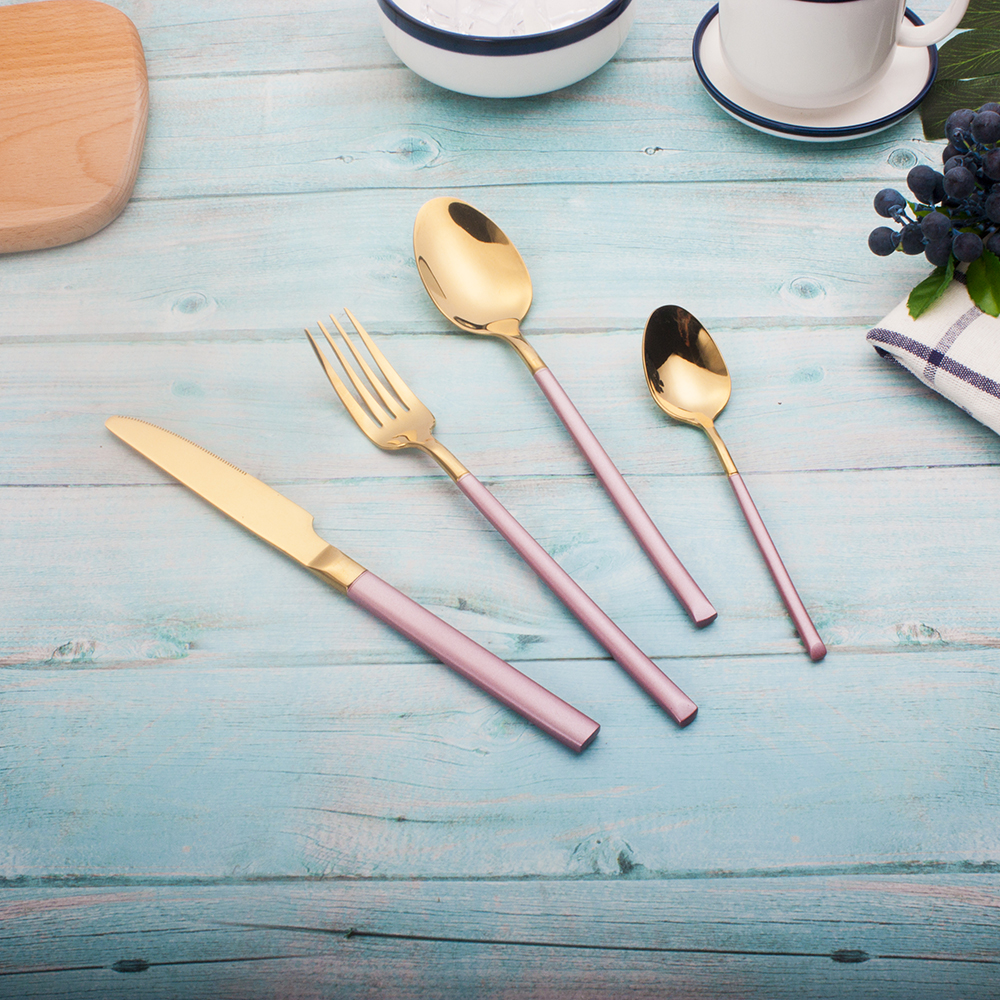 Best Hot Sale 4 piece Pink and gold Dinnerware Set 304 Stainless Steel Western Cutlery Kitchen Food Tableware Dinner Set