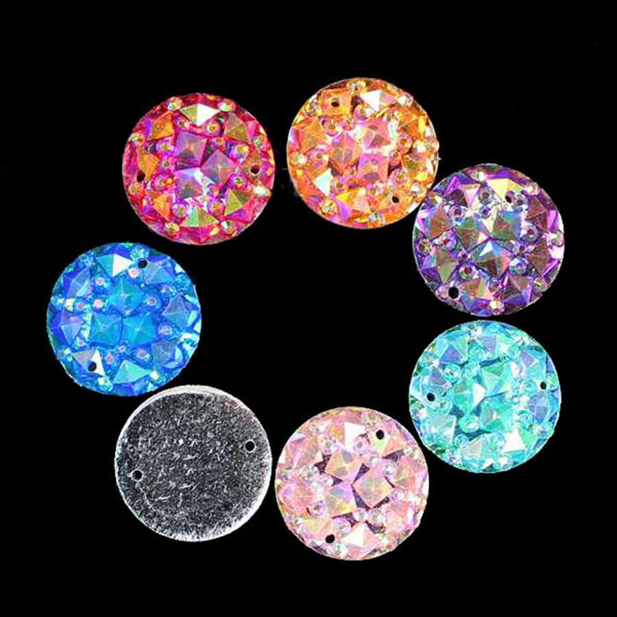 Hot 20Pcs16mm Mix Color AB Resin Mineral Surface Flat Round Resin Accessories FlatBack Appliques/Wedding DIY Craft Button ...