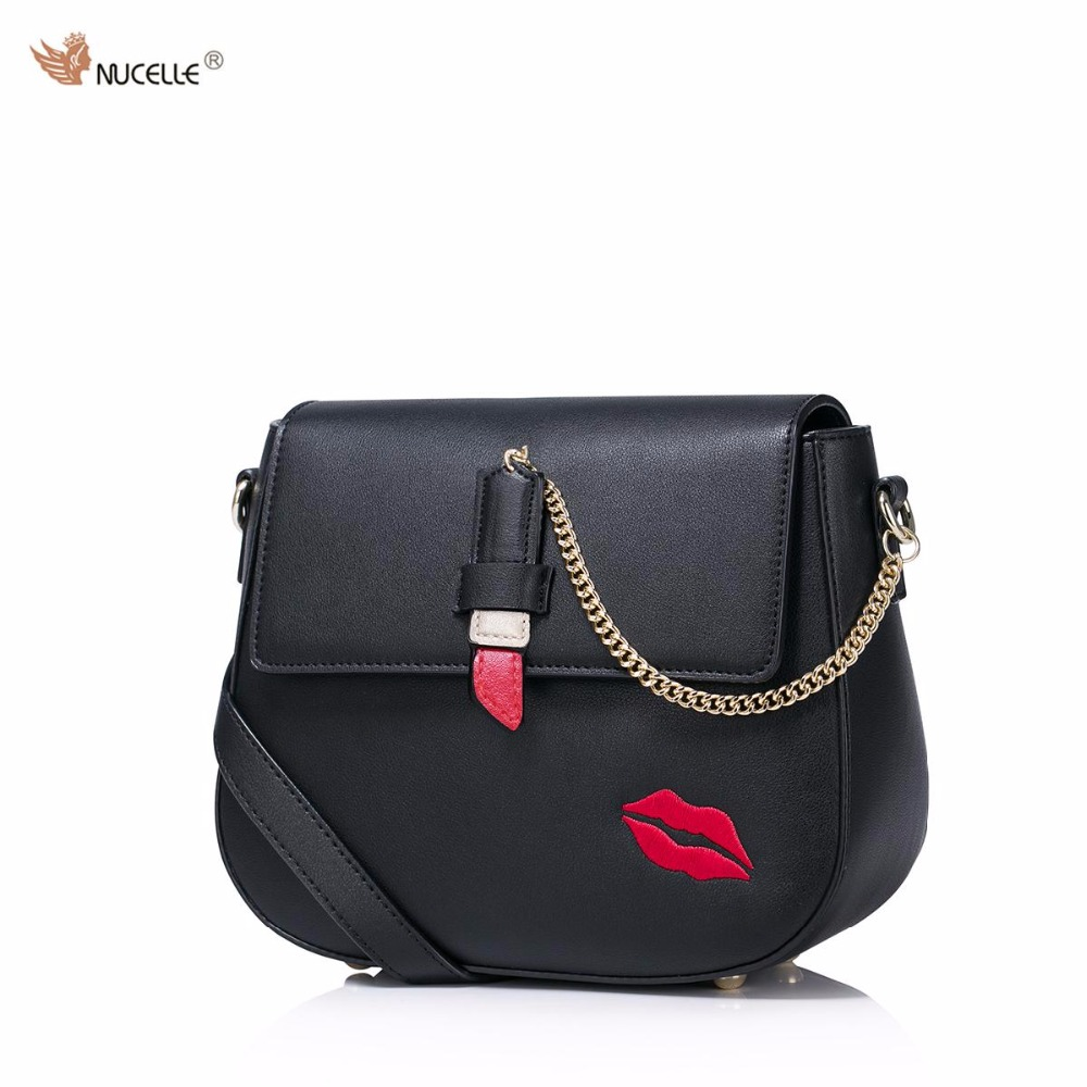 New NUCELLE Brand Design Fashion Sexy Red lips Embroidery Chains PU Leather Women Lady Shoulder Crossbody Small Bags