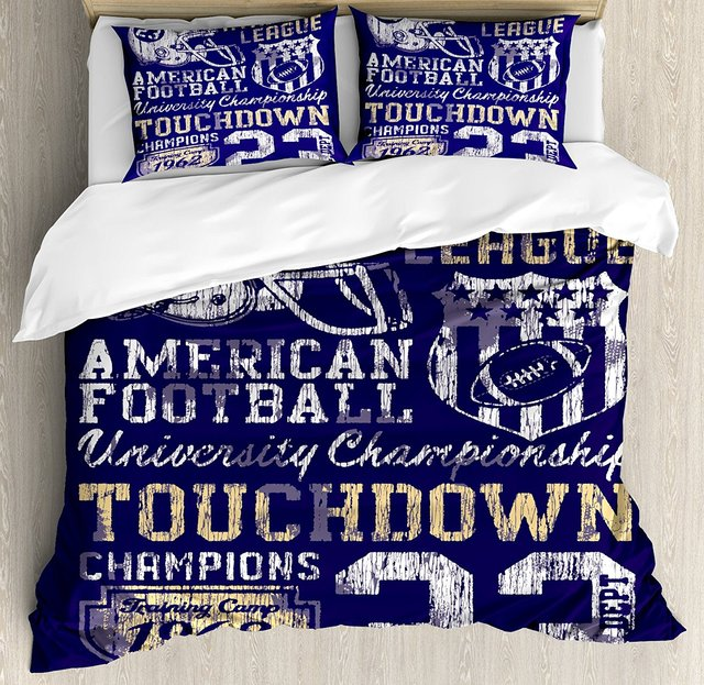 Sports Duvet Cover Set Queen Size Retro American Football College Ilration Athletic Championship Arel Purple White