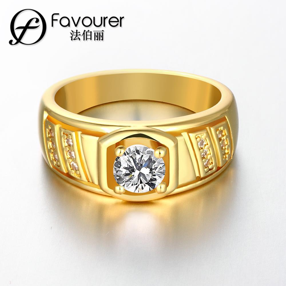 Simple Design Fashion Wedding Rings Gold Color Round Cut White