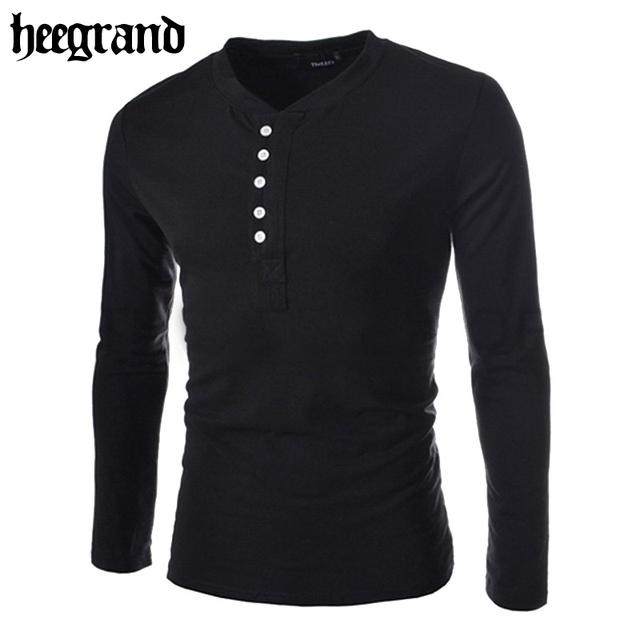 Hee grand 2017 homens t shirt do verão t-shirt moda manga comprida sólidos top 6 cores 4 tamanhos mtl053