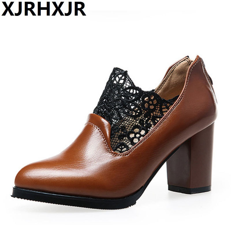 XJRHXJR Women Pumps Fashion Plus Size 32-43 Elegant Pointed Toe Square High Heel Office Lady Woman Shoes Lace Black Red Brown lin king fashion lace up women square heel pumps solid flock high heel shoes summer pointed toe office career shoes big size 43