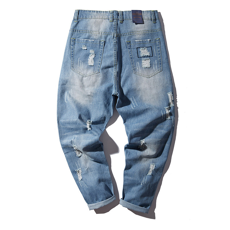 H.A.Sueno H.A.Sueno 2018 new Distressed men jeans light blue hole mens long pants loose fit high streetwear hip hop denim pants