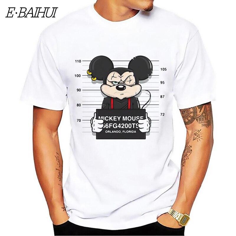 E-BAIHUI nuevo mickey imprimir camisetas mouse camiseta hombres tops hip hop casual divertido perro de dibujos animados camiseta homme comodidad algodón t camisa CG001