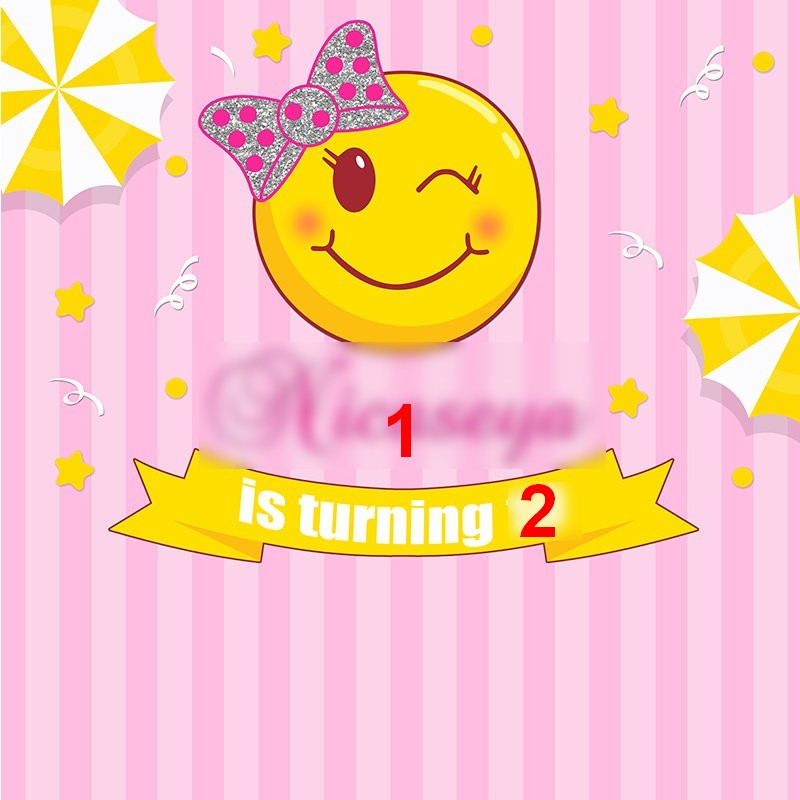 Custom Emoji Birthday Pink Striped Star Photo Studio Background High